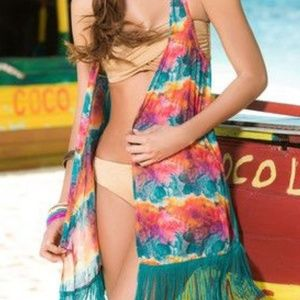 Swim - ▪︎(L) Boho Aqua Fringe Vest Cover Up▪︎